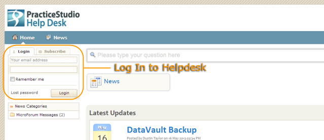 Helpdesk login